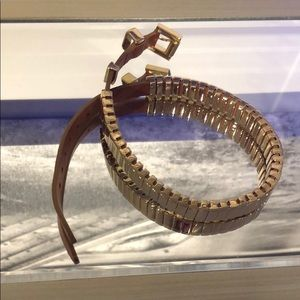 Michael Kors leather and gold wrap around bracelet